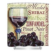 Red Wine Text Shower Curtain by Debbie DeWitt