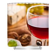 Red Wine With Cheese Shower Curtain by Amanda Elwell