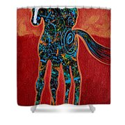 Red With Rope Shower Curtain