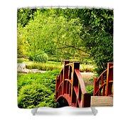 Red Wooden Bridge Shower Curtain