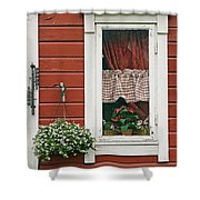 Red Wooden House With Plants In And By Shower Curtain