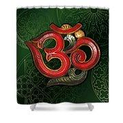 Red Wooden Om Green Mandala Shower Curtain