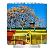 Red Yellow And Blue Building Shower Curtain