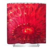 Red Zinnia Shower Curtain