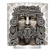 Redeemer - Modern Jesus Iconography - Copyrighted Shower Curtain by Christopher Beikmann