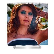 Redhead With A Star Tattoo  Shower Curtain