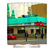 Rediscover Your Greenspot Notre Dame St Henri Dogs Et Frites Urban Food City Scenes Carole Spandau  Shower Curtain