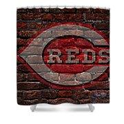 Reds Baseball Graffiti On Brick  Shower Curtain