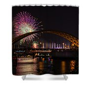 Reds Friday Night Fireworks Shower Curtain