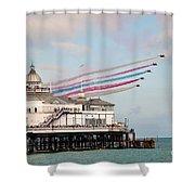 Reds Over Eastbourne Pier Shower Curtain