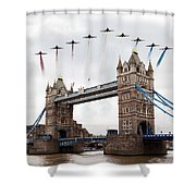 Reds Over Tower Bridge Shower Curtain