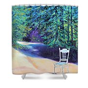 Redwood Path And White Chair Shower Curtain