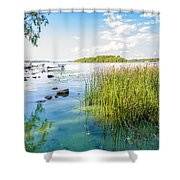 Reeds And Dnieper River Shower Curtain