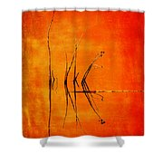 Reeds And Reflection In Orange Shower Curtain