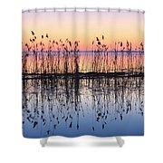 Reeds Reflected In Water At Dusk Ile Shower Curtain