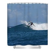Reef Surfer Moorea Panorama Shower Curtain by Camilla Brattemark