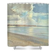 Reflected Clouds Oxwich Beach Shower Curtain
