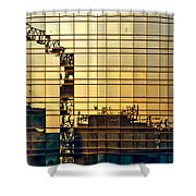 Reflected Cranes At Sunset Shower Curtain
