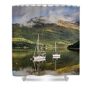 Reflected Yachts In Loch Leven Shower Curtain