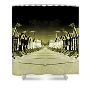 Reflected Yellow Huts  Shower Curtain
