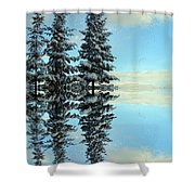 Reflecting Evergreens In Winter Shower Curtain