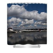 Reflecting On Boats And Clouds - Port Perry Marina Shower Curtain