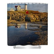 Reflecting On Nubble Lighthouse Shower Curtain by Susan Candelario