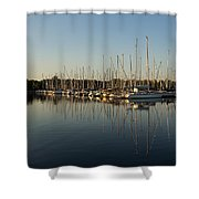 Reflecting On Yachts And Sailboats Shower Curtain