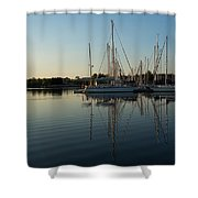 Reflecting On Yachts - Hot Summer Afternoon Mirror Shower Curtain