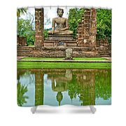 Reflecting Pool At Wat Mahathat In 13th Century Sukhothai Historical Park-thailand Shower Curtain