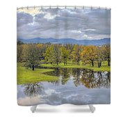 Reflection At Columbia River Gorge Shower Curtain