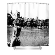 Reflection In Black And White Shower Curtain