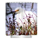 Reflection Of A Snowy Egret Shower Curtain