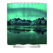 Reflection Of Aurora Borealis Shower Curtain
