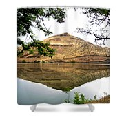 Reflection Of Butte Across From Lepage Rv Park Into Columbia River-oregon Shower Curtain
