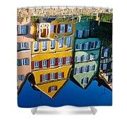 Reflection Of Colorful Houses In Neckar River Tuebingen Germany Shower Curtain