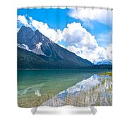 Reflection Of Glaciers And Clouds In Emerald Lake In Yoho National Park-british Columbia-canada Shower Curtain