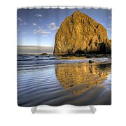 Reflection Of Haystack Rock At Cannon Beach 2 Shower Curtain