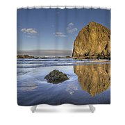 Reflection Of Haystack Rock At Cannon Beach 3 Shower Curtain