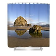 Reflection Of Haystack Rock At Cannon Beach Shower Curtain