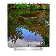 Reflection Of House On Water Shower Curtain