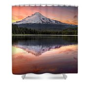 Reflection Of Mount Hood On Trillium Lake At Sunset Shower Curtain