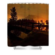 Reflection Of Mountains In Lake, Sunrise Shower Curtain