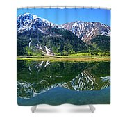 Reflection Of Mountains In Tern Lake Shower Curtain