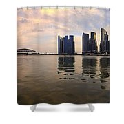 Reflection Of Singapore Skyline Panorama Shower Curtain