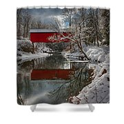 reflection of Slaughterhouse covered bridge Shower Curtain