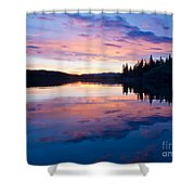Reflection Of Sunset Sky On Calm Surface Of Pond Shower Curtain