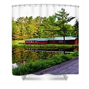 Reflection On The Pond Shower Curtain