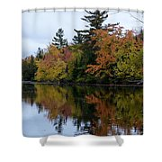 Reflection On The Raquette River Shower Curtain