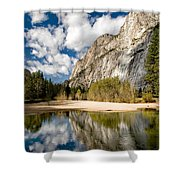 Reflections At Swinging Bridge Shower Curtain